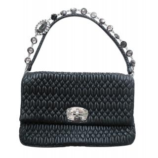 Miu Miu Black Matelasse  Leather Bag with Crystal Strap