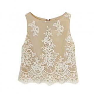Alice + Olivia Nude Lace Sleeveless Top