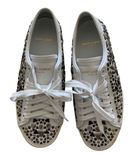 Saint Laurent White Studded Low Top Sneakers