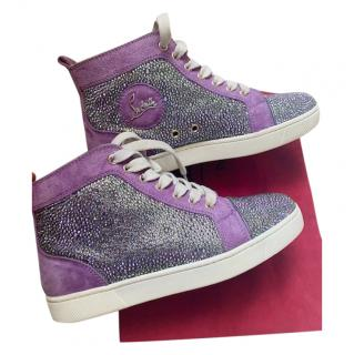 Christian Louboutin Purple Suede Crystal Studded Louis Sneakers