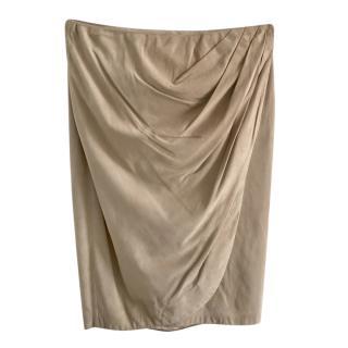 Ralph Lauren Black Label Camel Suede Skirt