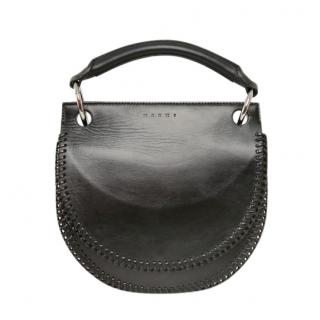 Marni Pebbled Leather Black Top Handle Bag