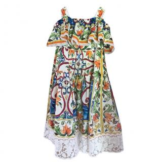 Dolce & Gabbana Cotton Majolica Print Sun Dress