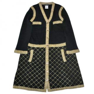 Chanel Black & Gold Cashmere Silk Knit Dress
