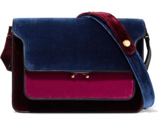 Marni Trunk color-block velvet and leather shoulder bag