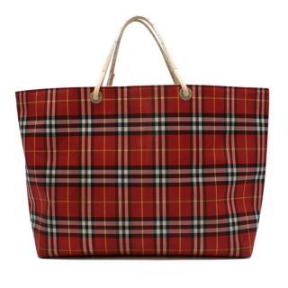 Burberry London Red Nova Check Tote Bag