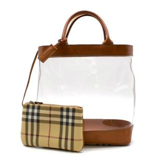 Burberry Leather & PVC Tote Bag with Nova Check Pouch