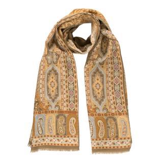 Etro Brown Paisley Print Wool & Silk Scarf