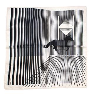 Hermes Striped Horse Print Silk Scarf 45