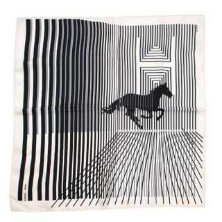 Hermes Striped Horse Print Silk Scarf 45