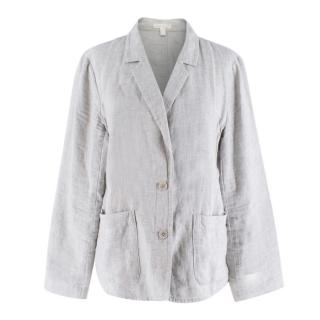 Eileen Fisher Grey Lightweight Linen Blazer