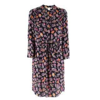 Diane Von Furstenberg Black Floral Print Shirt Dress