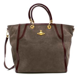 Vivienne Westwood Grey Suede Patent Trim Victoria Shopper