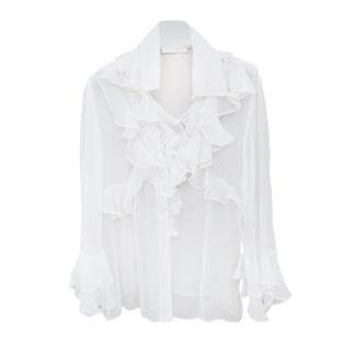 Ermanno Scervino White Ruffled Sheer Blouse
