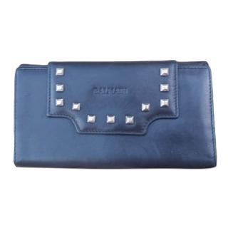Balmain Leather Marine Blue Studded Purse