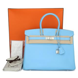 Hermes Candy Collection Celeste & Mykonos Birkin 35 - Epsom PHW