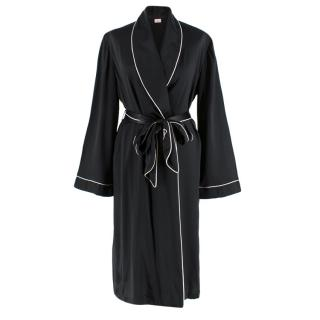 Agent Provocateur Black Contrast-piped silk robe