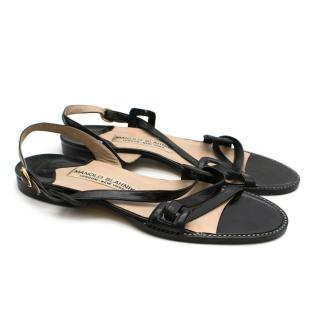 Manolo Blahnik Black Leather Slingback Flat Sandals