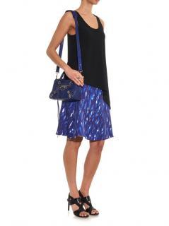 Balenciaga Blue Printed Silk A-Line Skirt