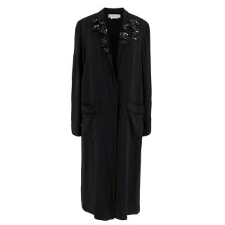 Marni Black V-Neck Embellished Longline Coat Dress