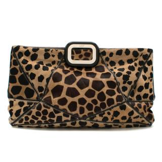 Roger Vivier Panelled Pony Hair Animal Print Clutch Bag