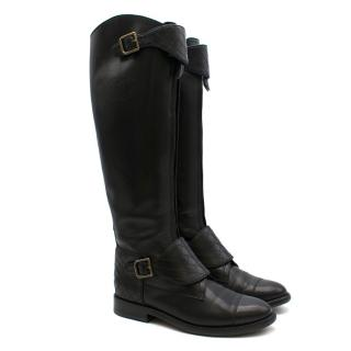 Chanel Lambskin Riding Boots with Quilted Stitch Detail