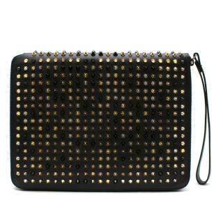 Christian Louboutin Black Spiked Leather iPad Case