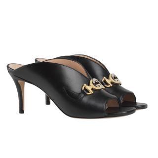 Gucci Black Leather Zumi Horsebit Mules