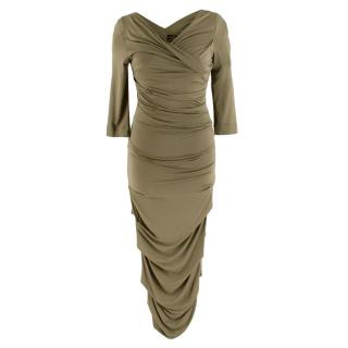 Vivienne Westwood Anglomania Ruched Khaki Dress