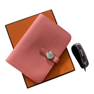 Hermes Rose Azalee Togo Calfskin Credit Card Wallet