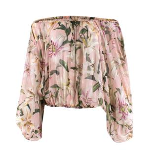 Dolce & Gabbana Pink Floral Sheer Off-Shoulder Top