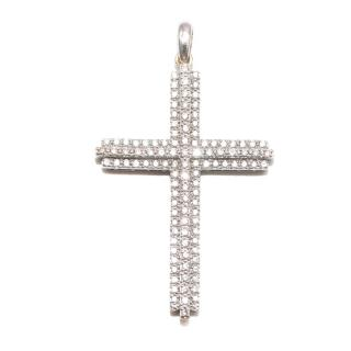 Bespoke 18ct White Gold and Pave Set 4 cms Diamond Cross Pendant
