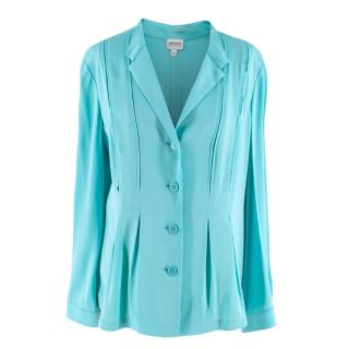 Armani Collezioni Turquoise Silk Blend Button-up Blouse