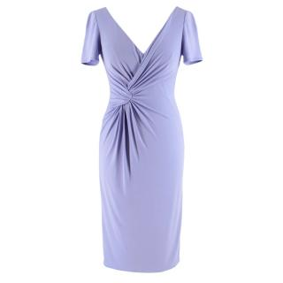 Versace Knot Front Knee Length Lavender Dress