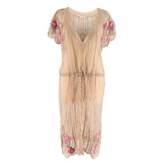 Matthew Williamson Beige Sheer Lace Embroidered Dress/Cover up