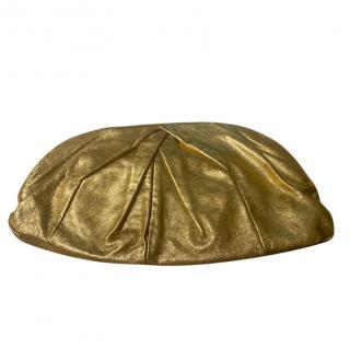 Miu Miu oversized gold calfskin leather clutch bag