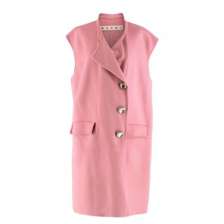 Marni Pink Sleeveless Wool Blend Coat