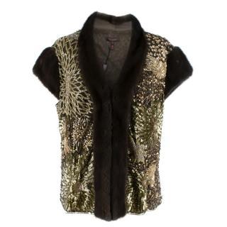 Escada Embellished Mink Vintage Short Sleeve Jacket