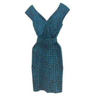 Samantha Sung Blue Printed Sleeveless Dress