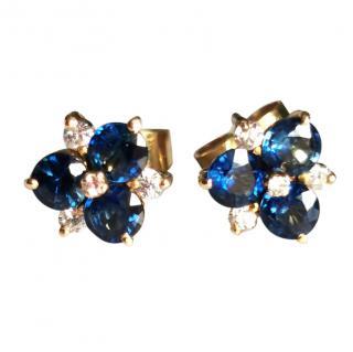 Bespoke Yellow Gold Sapphire & Diamond Cluster Earrings