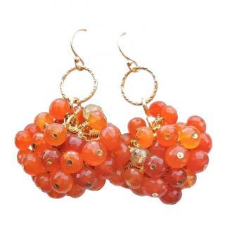 Bespoke carved carnelian bead earrings