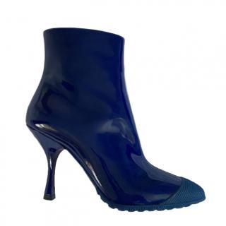Miu Miu Blue Patent Ankle Boots