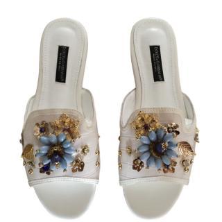 Dolce & Gabbana Croc Embossed Ivory Embellished Slides