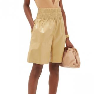 Bottega Veneta High-rise wide-leg leather shorts Runway SS20