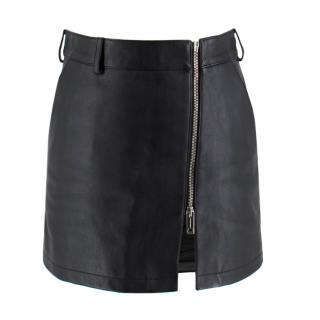 Burberry Black High Leather Waist Mini Skirt