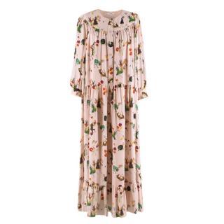 Vilshenko Long Sleeve Fairy Tale Print Tiered Blush Dress