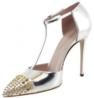 Gucci Silver Studded T-Bar Sandals