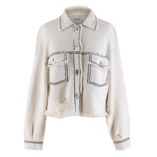 Barrie White Cashmere Blend Contrast Stitch Knit Jacket