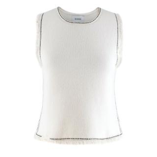 Barrie Contrast Stitch White Cashmere Blend Top