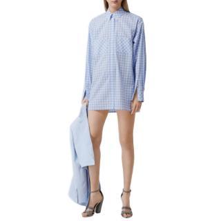 Burberry London Blue Gingham Cotton Poplin Shirt Dress